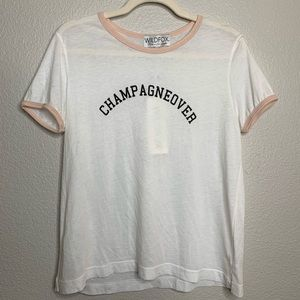 WILDFOX Champagneover White and Blush Ringer Tee S